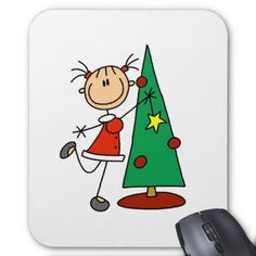 A stick figure girl dressed in traditional red and green Christmas colors dances around the holiday tree on cute holiday T-shirts, mugs, tote bags, cards, and other customizable stick figure holiday tree design items!