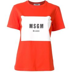 MSGM logo print T-shirt (£64) ❤ liked on Polyvore featuring tops, t-shirts, red, red t shirt, cotton t shirts, red tee, red top and logo design t shirts
