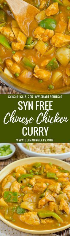 Chinese Chicken Curry - Now you can Create one of the most popular takeaway dishes in your own home completely Syn Free. - Gluten Free, Dairy Free, Paleo, Slimming World and Weight Watchers friendly Slimming World Fakeaway, Slimming World Dinners, Slimming World Chicken Recipes, Slimming World Recipes Syn Free, Slimming World Diet, Slimming Eats, Slimming Word, Chicken Curry Slimming World, Syn Free Food