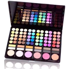 Shany Professional 78-Color Eyeshadow and Blush Palette ($20) ❤ liked on Polyvore featuring beauty products, makeup, eye makeup, eyeshadow, blue, rainbow eyeshadow, highlighting kit, mineral eyeshadow, palette eyeshadow and rainbow eye makeup