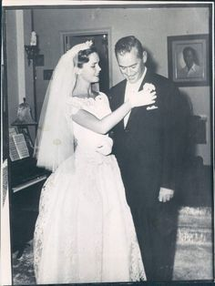 1962 Actress Lee Remick in Wedding Dress with Her Husband
