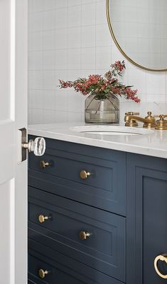 New-Construction Family Home Design Hale Navy by Benjamin Moore cabinet with brass hardware Bathroom cabinet Hale Navy by Benjamin Moore cabinet with brass hardware Decor, Boys Bathroom, House Design, House Bathroom, Navy Bathroom, Home Decor, Brass Hardware Bathroom, Beautiful Bathrooms, Bathroom Inspiration