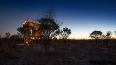 Skybed elevated safari camp in Africa, at sunset