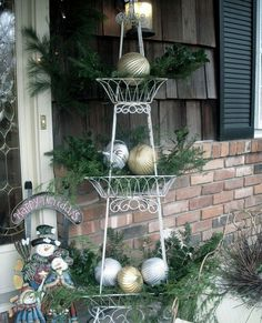 Use a Tiered Stand with Greenery & Baubles   Click Pic for 21 DIY Christmas Outdoor Decorations Ideas   Front Porch Christmas Decorations