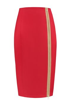 Kokerrok Helen Vuurrood. Skirts, Fashion, Moda, Fashion Styles, Skirt, Fashion Illustrations, Gowns, Skirt Outfits
