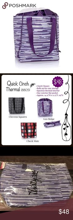 """Thirty-One Quick Cinch Thermal in Geo Stripe Thirty-One Quick Cinch Thermal in Purple Geo Stripe. This large Thermal is approximately 14.25""""H but can be rolled up for easy storage. Thirty-One Bags"""