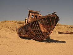 Abandoned Ships Stranded in the Desert due to recession of the Aral Sea