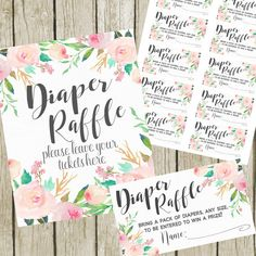 Diaper Raffle- Floral Watercolor- Digital Files- Instant Download This listing is for 2 Files: Diaper Raffle Sign - 8x10 Digital JPEG File. Instant Download. Diaper Raffle Tickets - Each Ticket is 2x3.5 and are formatted 10 per 8.5x11 sheet - JPEG File. Instant Download after