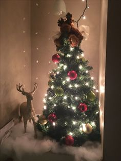 When you can't find a tree to fit in your nook... you make your own out of wrapping paper rolls and garland oh with a moose angel on top and cotton ball snowflakes in the background! ;)