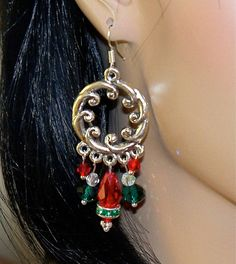 Red and Green Christmas Chandelier Earrings by Ricksiconics, $10.00