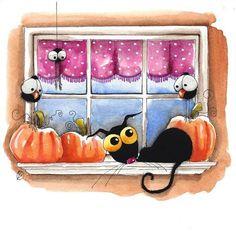 Original watercolor painting whimsical Stressie cat bird crow window pumpkins #IllustrationArt