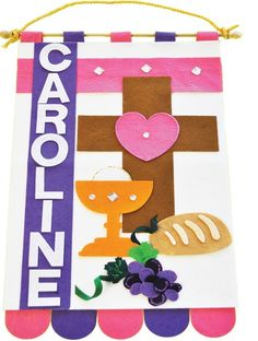 First Communion Banner kits for boys and girls. Kids can make their own banner. Order now for fast shipping! First Communion Banner, First Communion Gifts, First Communion Dresses, First Holy Communion, Communion Banners, Communion Decorations, Projects For Kids, Crafts For Kids, Craft Projects
