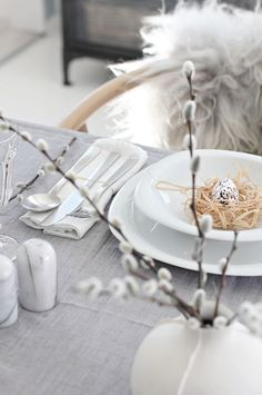 Table setting_Easter – I think the grey and white setting is lovely. The bunny c… Table setting_Easter – I think the grey and white setting is lovely. The bunny cutouts could be a silhouette project Easter Table Settings, Easter Table Decorations, Decoration Table, Setting Table, Easter Decor, Easter Ideas, Easter Centerpiece, Easter Crafts, Outdoor Bbq Kitchen