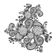 Zen-doodle flowers black on white for   package or  for coloring page or relax coloring book or tattoo — Vector de stock