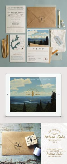 Katie & Jeff | summer camp inspired wedding invitations | Designed by Rachel Dangerfield at Imaginary Beast