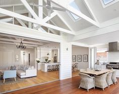 Hamptons style open plan living, dining, kitchen to outdoors