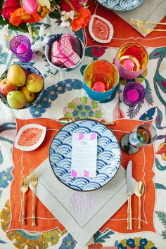 Bright table setting!