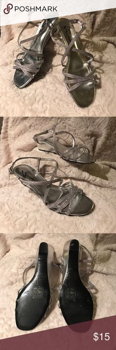 Low heeled sandals Nina brand low heel wedge sandal. Worn twice. Beautiful silver with gems. Nina Shoes Sandals