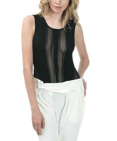 This CQbyCQ Black Sheer Sleeveless Bodysuit by CQbyCQ is perfect! #zulilyfinds