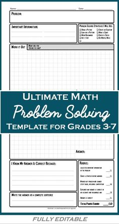 Improve your students' math problem solving skills with these FULLY EDITABLE templates.