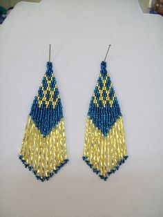 Native American Beaded Dark Turquoise and Gold Earrings  Ready to Ship GREAT GIFT