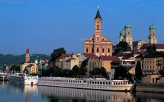 Boats moored on the Danube - one of Europe's two principle waterways - at Passau in Bavaria, Germany  -  Photo: Alamy