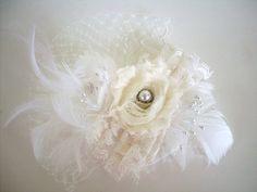 Shabby Chic Fascinator Bridal Hair Feathers Wedding by angel9, $34.00