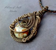 Wire Wrapped Pendant, copper and Australian Agate, wire wrapped jewelry by PillarOfSaltStudio