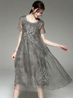 Vintage Embroidery Perspective Shift Dress from DressSure.com #dresssure #fashion #dresses #HighQuality