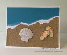 Beach Flip Flop Card | Diane's Studio. Make a #card using a brass stencil, #stamp and sandpaper