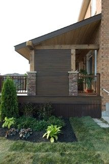 The TV Deck - rustic - Deck - Toronto - Paul Lafrance Design Rustic Deck, Privacy Screen Deck, Outdoor Spaces, Outdoor Decor, Construction Design, Decks And Porches, Outdoor Landscaping, Landscape Design, Home And Garden