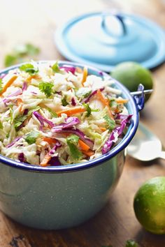 This Mexican cole slaw is lightened up with fresh lime juice and cilantro and takes about 5 minutes to make. Easy sweet and spicy Mexican cole slaw. Mexican Slaw, Mexican Cole Slaw Recipe, Mexican Shrimp, Clean Eating, Healthy Eating, Comida Latina, Cooking Recipes, Healthy Recipes, Vegetarian Recipes