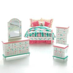 PINK & Green PATCHWORK Hand-Painted Dollhouse Miniature Bedroom Bed Set