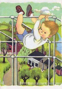 Little Boy on a Jungle Jim, Eloise Wilkin Illustration