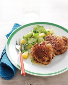 Broiled Chicken Thighs with Pineapple-Cucumber Salad - Everyday Food May 2012 cover recipe! chicken