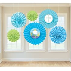 Boys Communion Decorations - Communion Blue Paper Fans Back Drops - Religious themed party decorations for Venue Hall for Son s First Communion Party