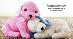 "2 Crochet Puppy Love Toy Patterns    Finished sizes are: Sitting Dog 10"" x 11"" and Sleeping Dog 6"" x 13    Suitable as baby toy/baby shower"