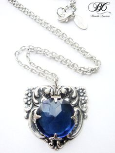 One of A Kind Vintage Blue Rhinestone Ornate Neo Victorian Antiqued Silver