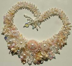~ Wedding Garden Collar ~ by Lynn Davy Beading....Christie, I'd love to make this. Any Ideas....