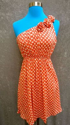 Orange and White Polka Dotted One Shoulder Dress with Rosettes