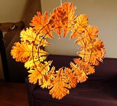 Pressed leaf wreath craft from http://www.thinyspread.co.uk would be perfect for a #christmas tree decoration or #fall decoration