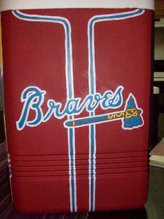 Awesome way to paint the side of a cooler! Everything looks better with Braves red & blue on it!