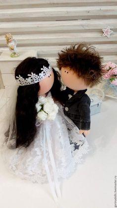 Купить Текстильные куколки-Свадебные малыши - чёрно-белый, свадьба, интерьерная кукла, текстильная кукла