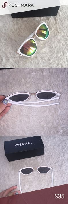 White and rose gold all girl sunglasses Gorogous white frame with rose gold color shifting to green cat frame glasses  No brand Quay Australia Accessories Sunglasses