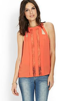 Pleated and Lace Cutout Top | FOREVER 21 - 2000089671