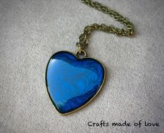 Blue heart shaped pendant by CraftsMadeOfLoveShop on Etsy https://www.etsy.com/nz/listing/515325907/blue-heart-shaped-pendant