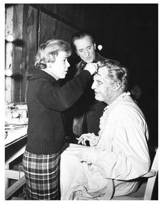 VINCENT PRICE getting make-up still visited by BASIL RATHBONE -from Tales Of Terror