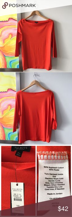 TALBOTS Boatneck Silky Cotton Tee Brand new. Petite. 3/4 sleeve. Gorgeous silky fabric. Bright deep tomato orange color. Pretty boatneck collar with panel shoulder detail. True to size. Talbots Tops Tees - Long Sleeve