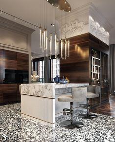 APARTMENT IN MOSCOW - Dezign Ark (Beta) Luxury Kitchen Design, Luxury Kitchens, Luxury Interior Design, Interior Design Kitchen, Interior Architecture, Dream Kitchens, Diy Interior, Architecture Plan, Residential Architecture