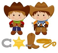 OFF SALE! - Little Cowboy - Digital Clip Art - Personal and Commercial Use - scrapbooking, horse shoe, boot, sheriff badge, rope - Door Hangers - Cowboy Baby, Little Cowboy, Cowboy Theme, Western Theme, Cowboy And Cowgirl, Cowboy Nursery, Wild West Party, Sheriff Badge, Girl Birthday Decorations